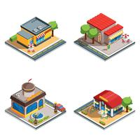 Cafe Isometric Ikoner Set