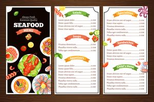 Menu do restaurante de frutos do mar