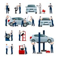 Service de voiture Icons Set