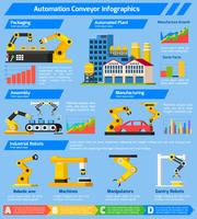 Automation Conveyor Orthogonal Infographics vector