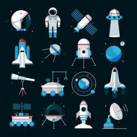 Spacecrafts Instruments Equipment Flat Icons Set