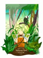 Cartel colorido del paisaje del bosque tropical