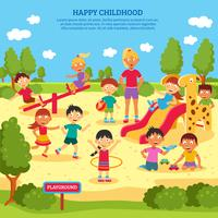 Kids Playing Poster vector