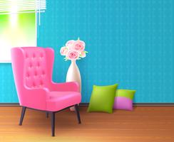 Pink Chair Realistic Interior Poster