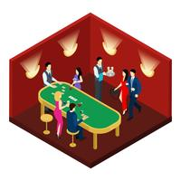 Illustration isométrique de casino et de cartes