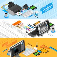 Graphic Design Isometric Banners Set