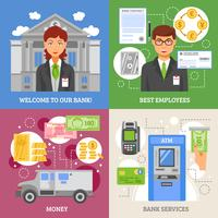 Conceito de Design 2x2 de serviços bancários