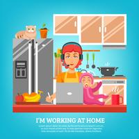 Housewife Design Concept At Kitchen Interior vector