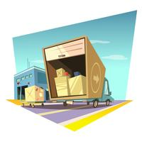 Warehouse cartoon illustration