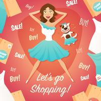 Shopping Girl Sale Advertisement Flat Poster