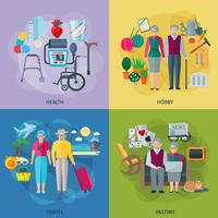 Pensionnés Life Concept Icons Set