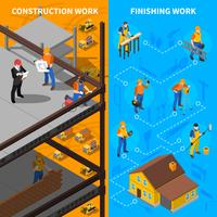 Construction Workers Isometric  Banners Set