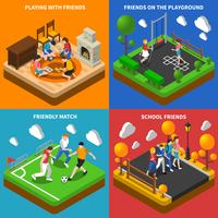 Friends Playing 4 Isometric Icons Composition