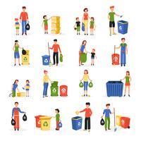 Gens recyclant les déchets collection d'icônes plat
