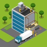 Construction Workers Completing Building Isometric Banner