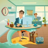 Büro träumt Urlaub Illustration