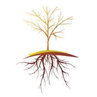 Árvore com raiz isolada Cartoon retrô ilustração