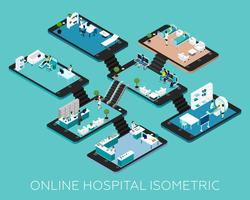 Online Hospital Isometric Scheme Icons