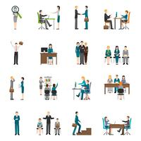 Reclutamiento HR personas Icons Set