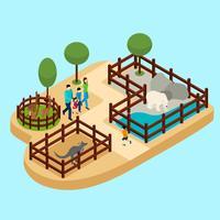 Familie im Zoo Illustration