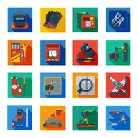 Flat Welding Icons In Colorful Squares