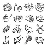 Agriculture Black White Icons Set  vector