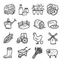 Conjunto de iconos blanco negro de agricultura