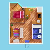 Plattegrond van appartement met één slaapkamer