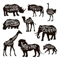 Wild Animals Lettering Black Icons Set vector