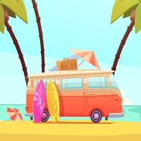 Surfing And Bus Retro Cartoon Illustration