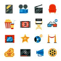 Flat Cinema decoratieve Icons Set