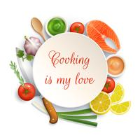 Flat Lay Cooking Circle Composition  vector