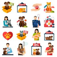 Animal shelter icons set vector
