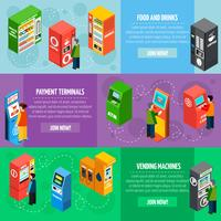 Vending Payment Machines Isometric Banners Set