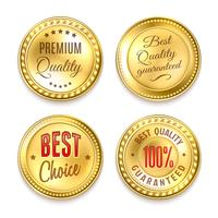 Four Golden Round Labels Set