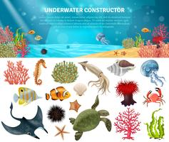 Sea Life Constructor Isolerade ikoner Set
