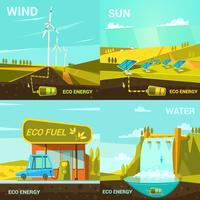 Ecological energy cartoon set