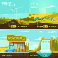 Conjunto de dibujos animados de energía ecológica