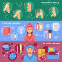 Conjunto de Banners horizontales de higiene personal
