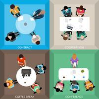 Conjunto de vista superior de comunicações de negócios