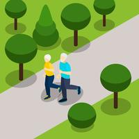 Active Retirement Lifestyle Isometric Banner