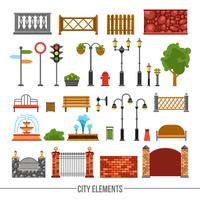 City Elements Flat Icons Set