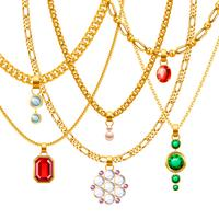 Golden Chains With Pendants Set