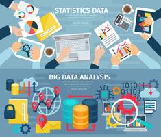 Set di banner orizzontali orizzontali di Big Data