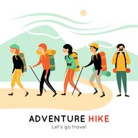 Adventure Hike Of Happy Friends