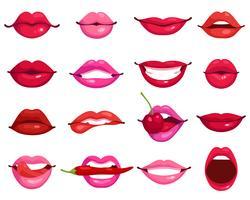 Lippen-Cartoon-Set