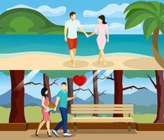 Conjunto de banners de amor de personas vector