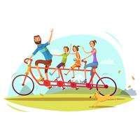 Family And Bicycle Cartoon Illustration