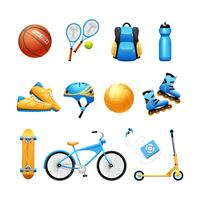 Summer Sport Equipment Flat Icons Set