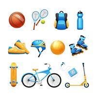 Conjunto de ícones plana de equipamento de desporto de verão